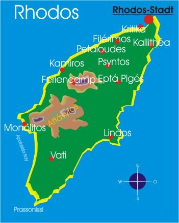 Rhodos Karte Mit Sehenswürdigkeiten.Landkarte Rhodos